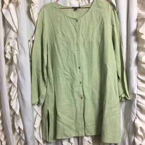 Eileen Fisher Sage Linen Blend Lagenlook Tunic Top